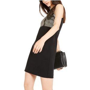 Michael Kors Black Sequin Bodice Dress Small Black Gold